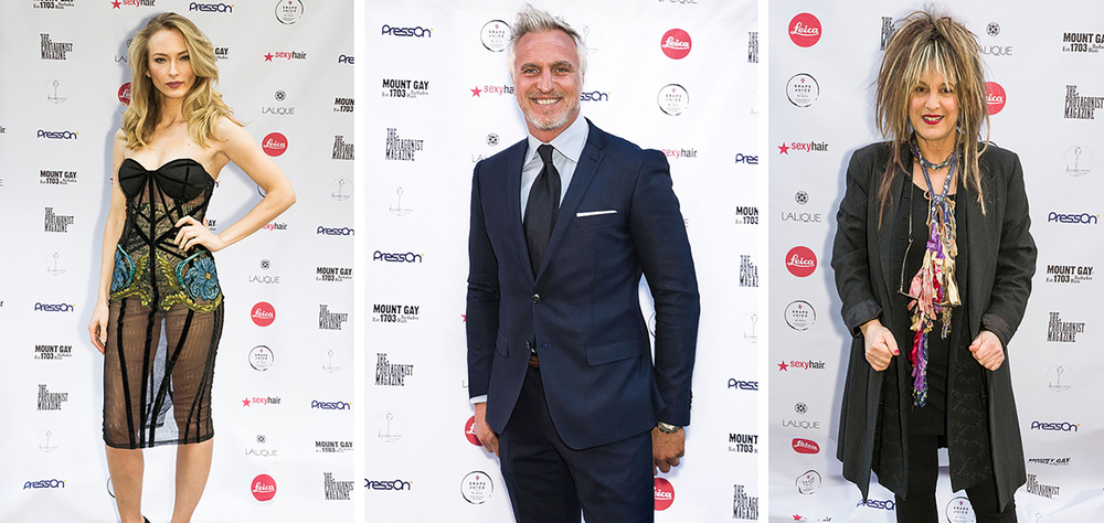 Actress Felicity Gilbert, footballer and icon David Ginola and fashion legend Elizabeth Emmanuel on the red carpet for The Protagonist Magazine launch