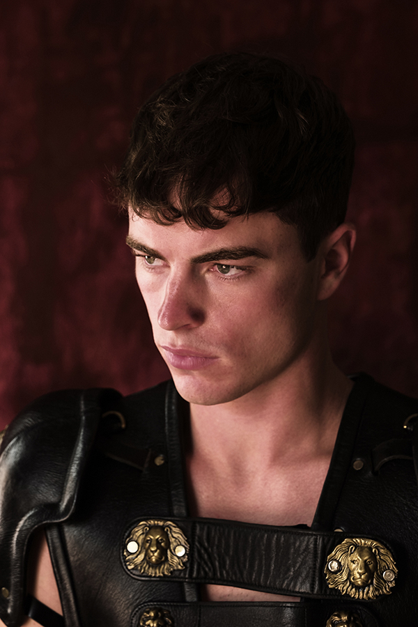 Dovydas wearing leather armour by The Royal Shakespeare Company