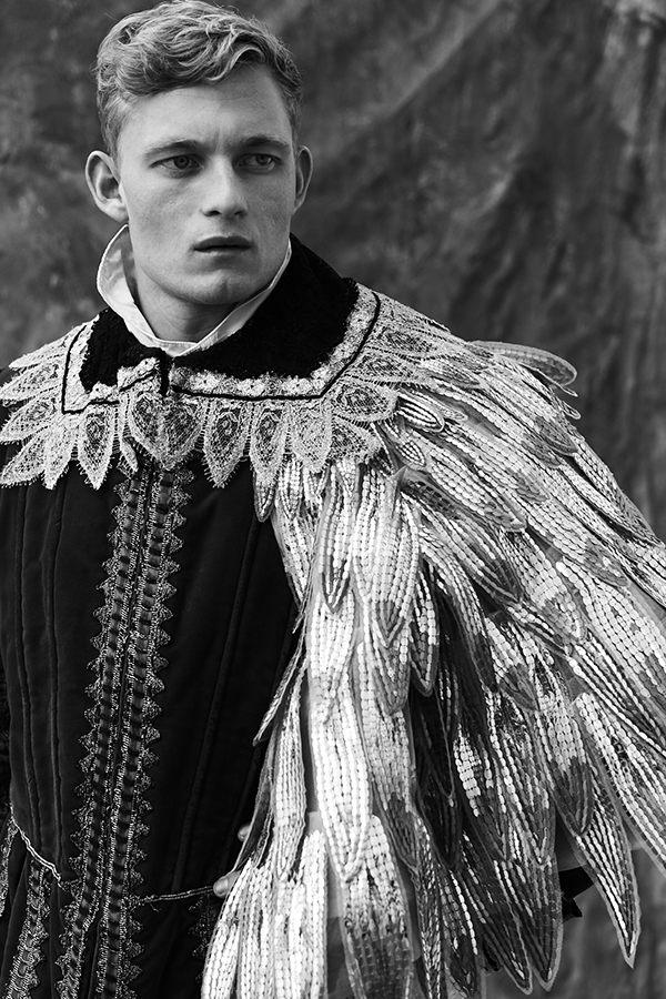 Shirt and jacket by The Royal Shakespeare Company, feather sequin cape by AJSK