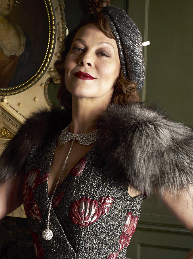 Helen McCrory wearing dress and stole by Alberta Ferretti, hat Miss Jones by Stephen Jones, gloves by Philip Treacy for Cornelia James, necklace by Piaget