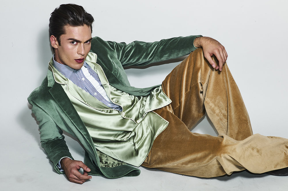 Shirt, vest, jacket and trousers by Burberry