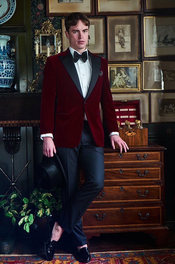 Dovydas wears jacket, shirt and trousers by Artefact London, bow tie by The Bow Tie, hat by Lock & Co Hatters, shoes by Manolo Blahnik