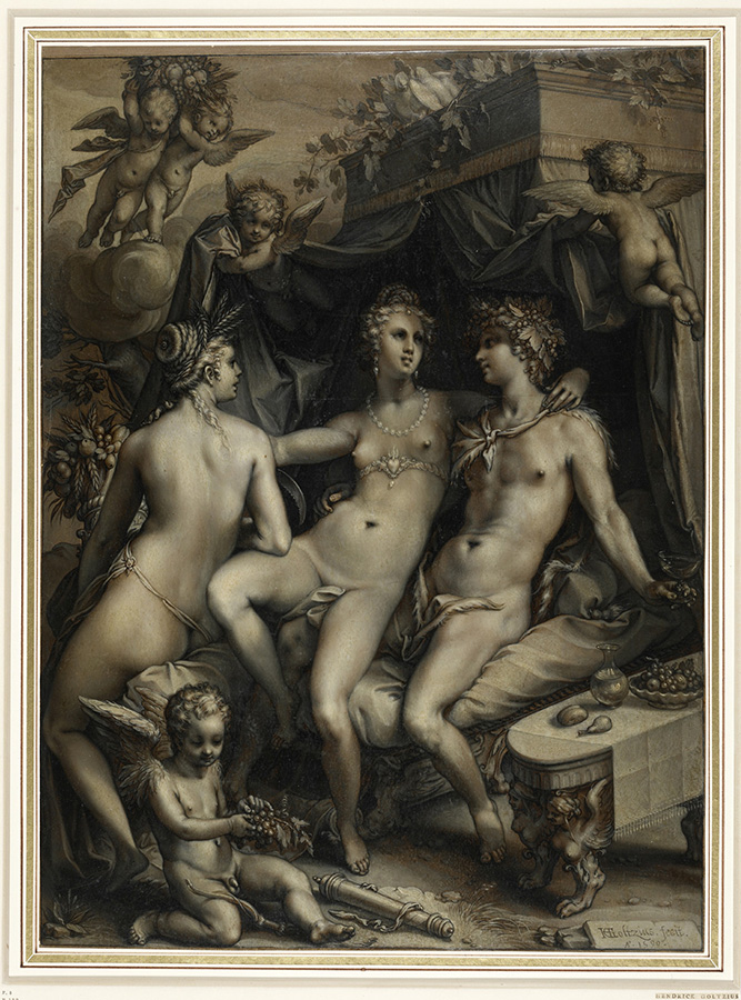 Hendrik Goltzius, Without Ceres and Bacchus, Venus Would Freeze, 1599, Chalk, ink and oil on paper, 43.5 × 32.1 cm, The British Museum, London © The Trustees of The British Museum