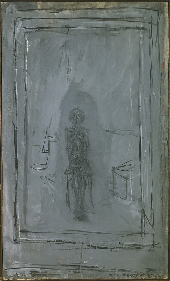 Alberto Giacometti, Annette Seated, 1957, Oil on canvas, 100.9 × 61.5 cm, Kunstsammlung Nordrhein-Westfalen, Düsseldorf © The Estate of Alberto Giacometti (Fondation Giacometti, Paris and ADAGP, Paris), licensed in the UK by ACS and DACS, London 2017. Photo: bpk / Kunstsammlung Nordrhein-Westfalen, Düsseldorf / Walter Klein