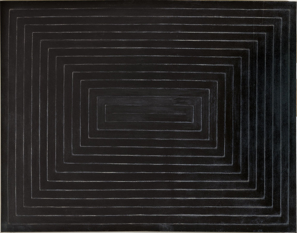 Frank Stella, Tomlinson Court Park I, 1959, Matt black enamel paint on canvas, 220 x 280 cm, Museum Folkwang Essen © Frank Stella. ARS, NY and DACS, London 2017 / Photo: Museum Folkwang Essen / ARTOTHEK