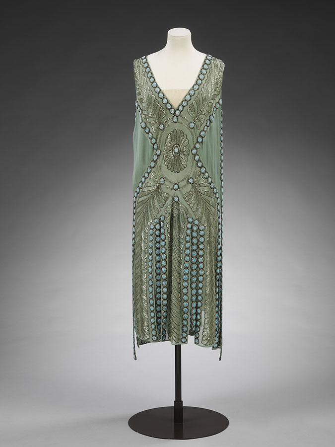 Silk georgette and glass beaded Salambo dress, Jeanne Lanvin Paris, 1925. Previously owned by Miss Emilie Grigsby. Given by Lord Southborough, Victoria and Albert Museum, London