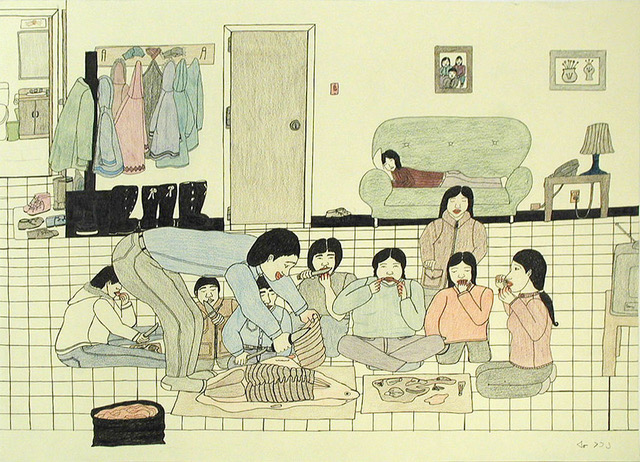 Annie Pootoogook, Eating Seal at Home, 2001