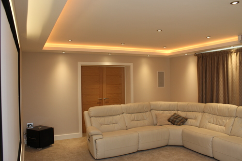 Custom designed collingwood led colour change lighting in cinema room