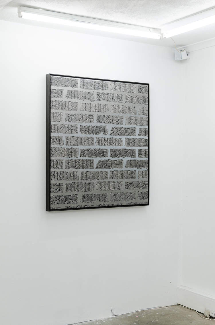 Anna Kristensen, Brick wall, 2014, silkscreen ink and acrylic on canvas, 107 x 96.5cm.