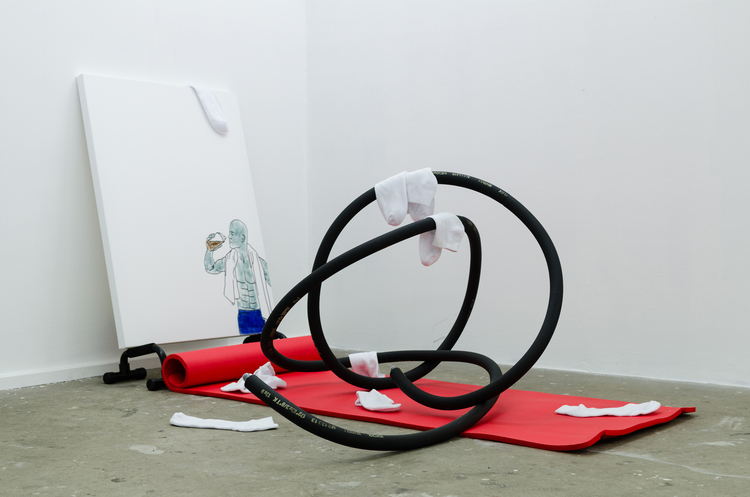 Alex Kiers, K-FLEX, acrylic on canvas, push up bars, yoga matt, k-flex rubber tubing, ankle socks, dimensions variable.