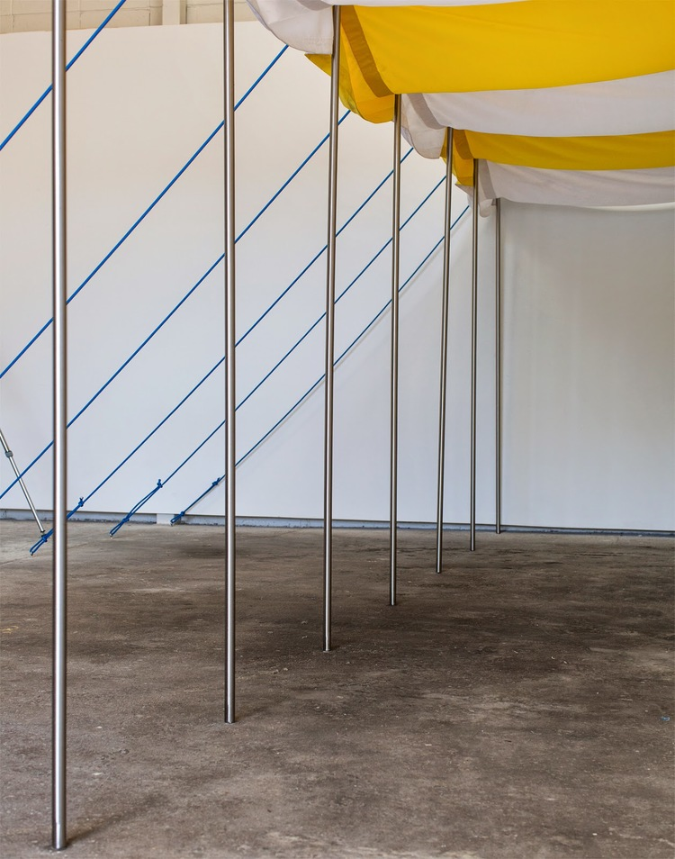 Marilyn Schneider and Bonita Bub, Leisure Kitsch, 2014, steel poles, marine rope, outdoor fabric, hooks and D rings, 10 x 4 x 3 metres.