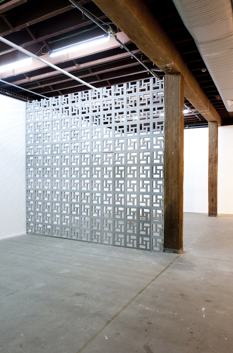 Screen Wall, 2012, Hand cut EVA foam, PLY wood, screws, acrylic paint, 362 x 334cm.