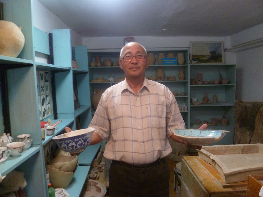 HWB participant Chanurack, Ceramic conservator, posing with his work. Kazakhstan 2015