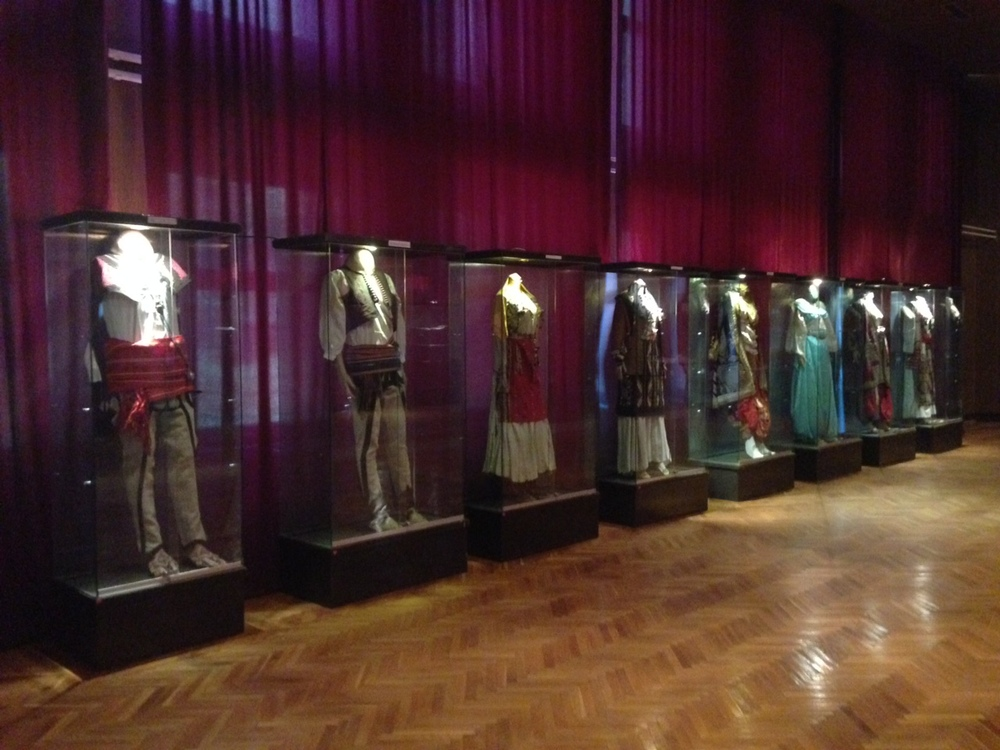 Beautiful traditional costumes on display in the museums main hall