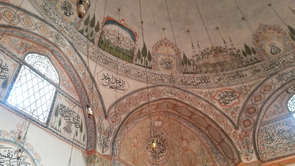 The amazing painted motifs inside the mosque
