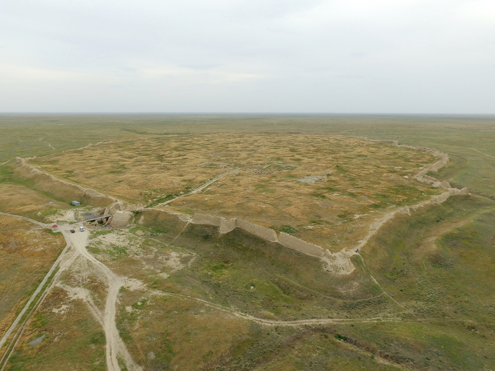 Bird's eye view of Sauran, taken from the Institute of Archaeology drone.