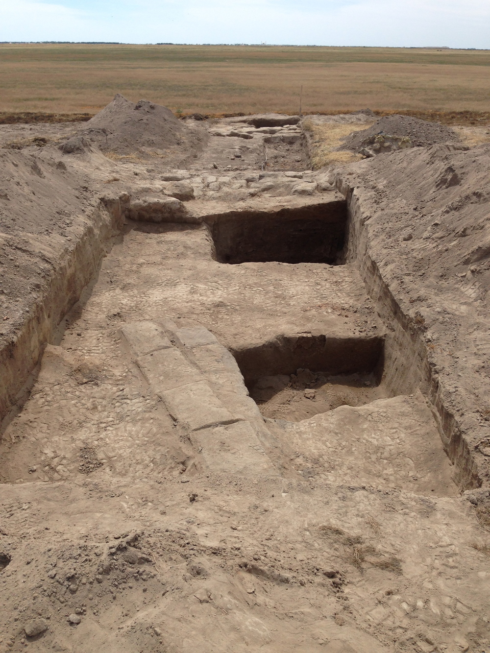 Trench One,showing the inner mud-brick walls, and deeper cuts to investigate the layers of soil.