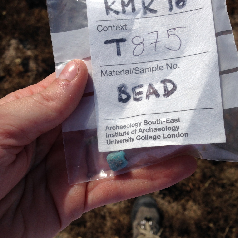 My first exciting find field walking in the grid! A turquoise coloured cylindrical bead!