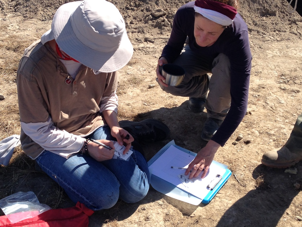 Odile showing Maria how to fill out the Registered Finds log on site.
