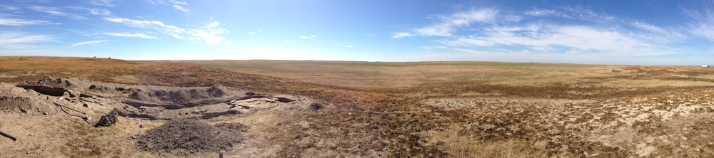 Panorama shot with Trench One on the left. Note the fresh spoil heap (dug out dirt) which can be seen in the foreground.