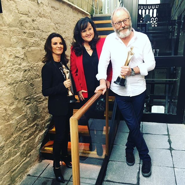 Deirdre O'Kane, IFTA CEO Aine Moriarty and Liam Cunningham kicking off 15th anniversary of IFTA at this morning's announcement of 2018 nominations.  Huge congrats to both Deirdre and Liam on their own nominations!  #IFTA18 #IrishFilm #IrishTalent