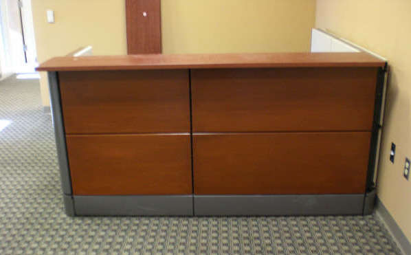 "Ethospace Reception Desk 38"" high.  Refinished wood tiles"