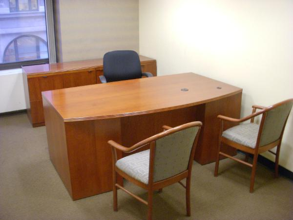 "3 sets available 36/42"" x 72"" Desk 72"" credenza Guest chairs"
