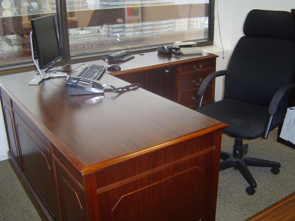"Laminate version of same Kimball desk 66"" x 30"" with 48"" return"