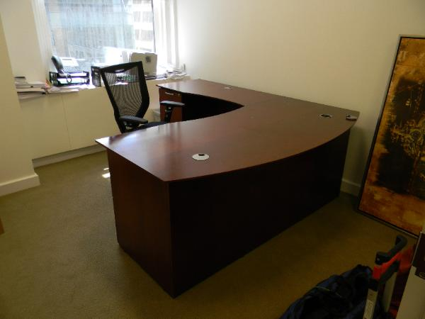 "P1 - Bow Front Cherry Desk - 72"" x 30/36"" with 48"" Left return.  1BBF and 1 FF"