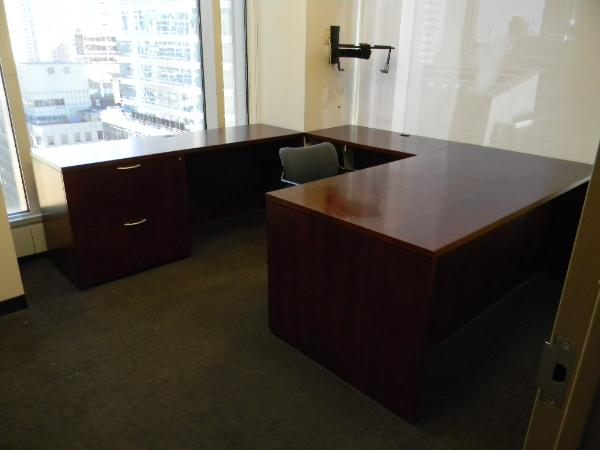 "OFS U-shape desk (can be set as L-shape as shown here.) 36X72"" desk with 42"" left return and 72""x24"" credenza"