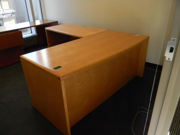 "Steelcase light cherry desk 30""x66"" with 45"" left return - 1 BBF 1-unit"