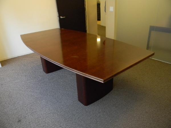 "N4 - 8' x 48"" Boat shape conference table.  Cherry wood."