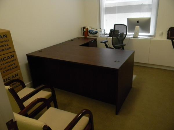 "P2 - 72"" x 36"" L-desk with 36"" Right return. Laminate. 1 BBF and 1"