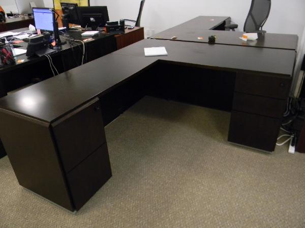 "P4 - Kimball desks - 30"" x 66"" with 50x22"" return."