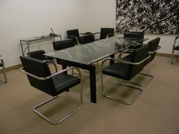 "36"" x 84"" glass conference table"