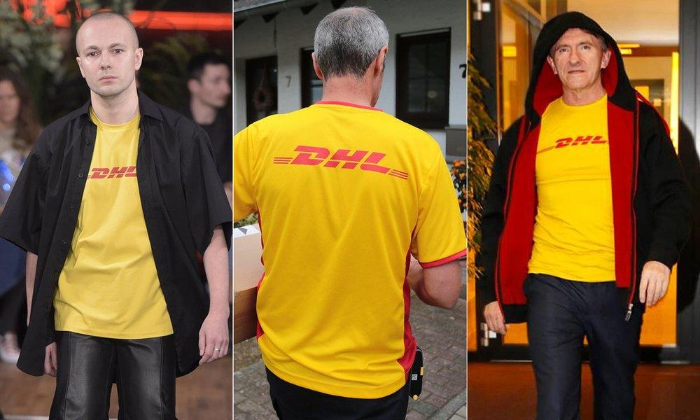 A gauche : Défilé Vetements, PE 2016 ; au milieu : employé DHL en uniforme ; à droite : Ken Allen, PDG de DHL, portant le T-Shirt Vetements