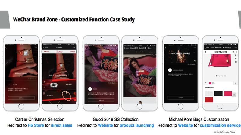 Quelques exemples d'utilisation de la fonction « Brand Zone » de WeChat : Cartier, Gucci, Michael Kors