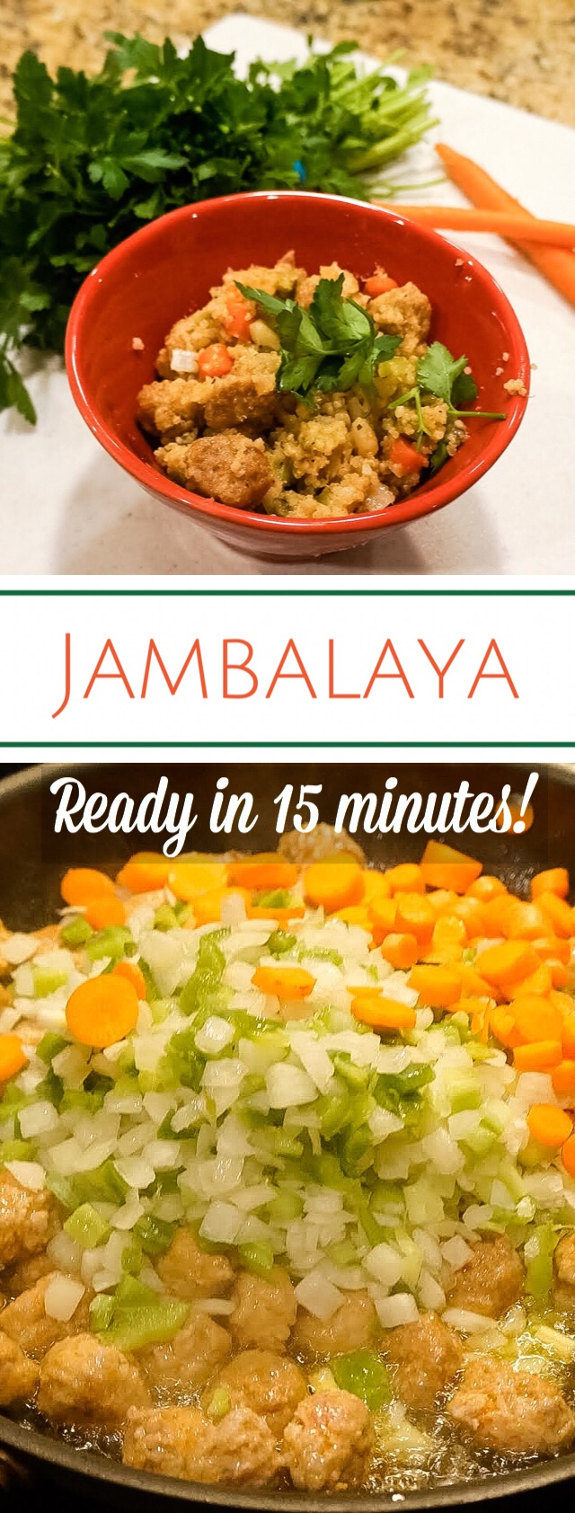 Enjoy this fabulous and little bit different jambalaya in 15 minutes! Its a super easy recipe packed with flavor that everyone will be asking seconds for!  Ingredients:  1 cup quinoa  1 lb andouille sausage, sliced into coins  3 tbsp olive oil  1/2 cup onion, chopped  1/2 cup pepper, chopped  1/2 cup celery, chopped  **1/2 cup carrots; sliced (optional)  1 tbsp garlic, minced  1 tsp oregano  flour; enough to make a roux, so anywhere from 1 tbsp to 1/4 cup  chopped parsley to garnish (optional)