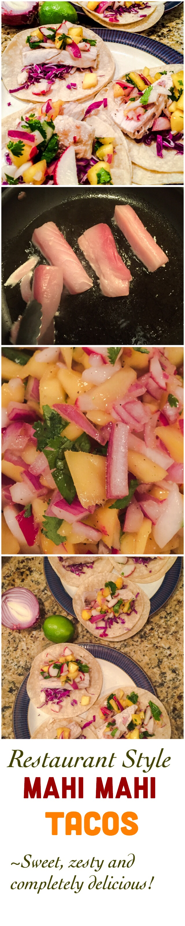 Fish tacos! Mahi Mahi with a mango salsa. Such a yummy recipe! Perfect for the summer weather!
