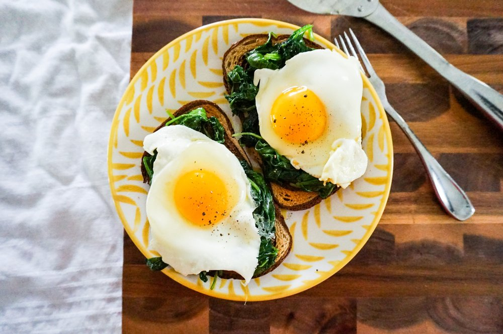 Sunny Side Eggs over Spinach and Marble Rye Toast 😎