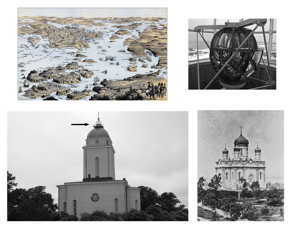 L to R: Aerial view Suomenlinna Island, Finland; Aviation Lens, Suomenlinna church; Suomenlinna Eastern Orthodox Church, 1854; Evangelical Lutheran Church reconstruction covering original structure, 1920 (arrow indicates multi-function steeple lighthouse for air and sea navigation).