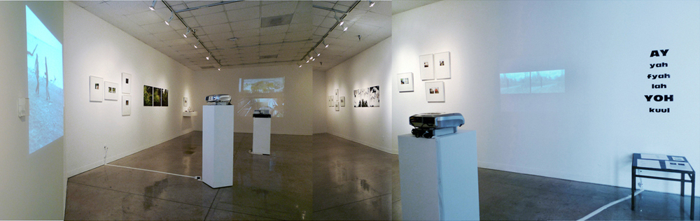 Installation view, Ay Yah Fyah Lah Yoh Kuul, Lionel Rombach Gallery, Tucson, AZ (photographs C.Caro, Video E. High)