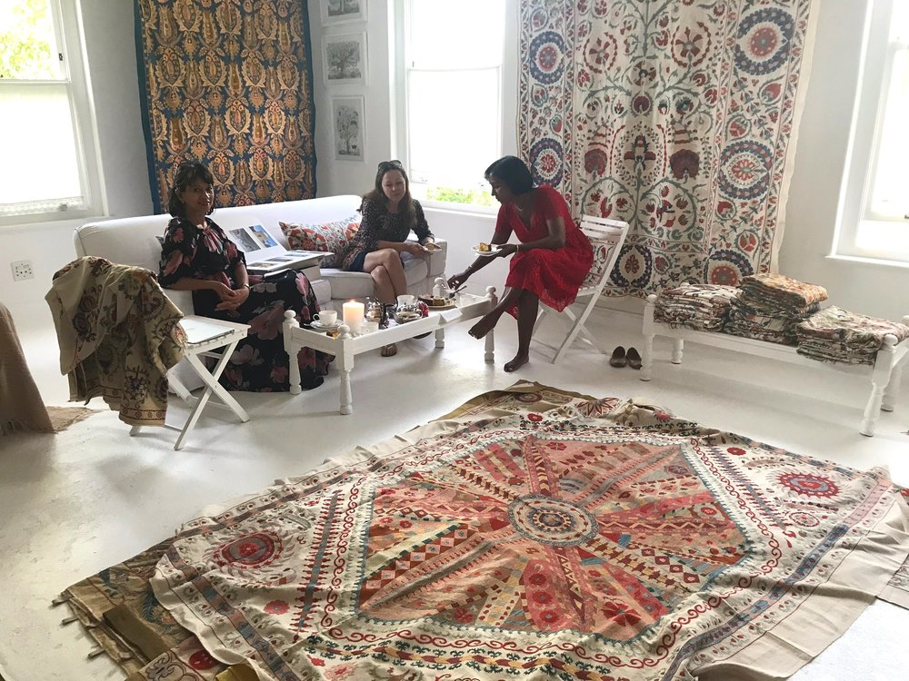 Wednesday, three lovely women came to share in the beauty of the Suzani Collection.