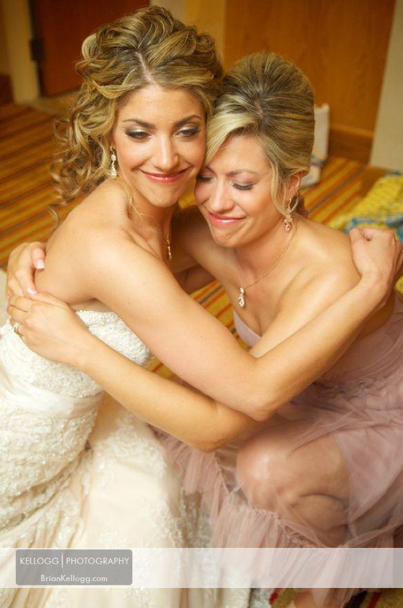 Bride sister hug
