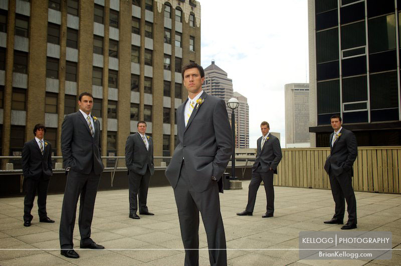 Groomsmen Rooftop Columbus Ohio Renaissance Hotel Wedding