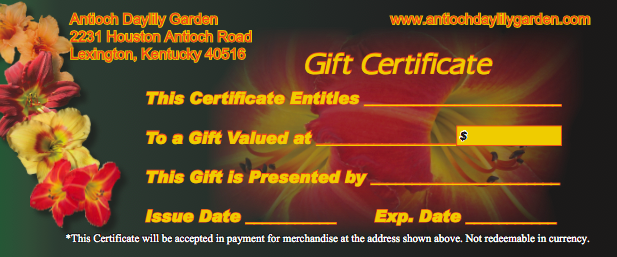Request a Gift Certificate in the Form to the Left.