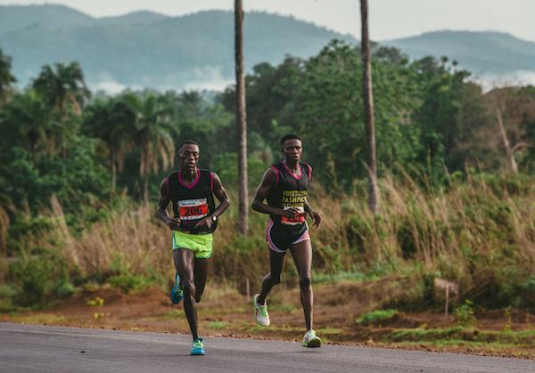 Mustafa 'Eskimo' Kamara running the Sierra Leone Marathon