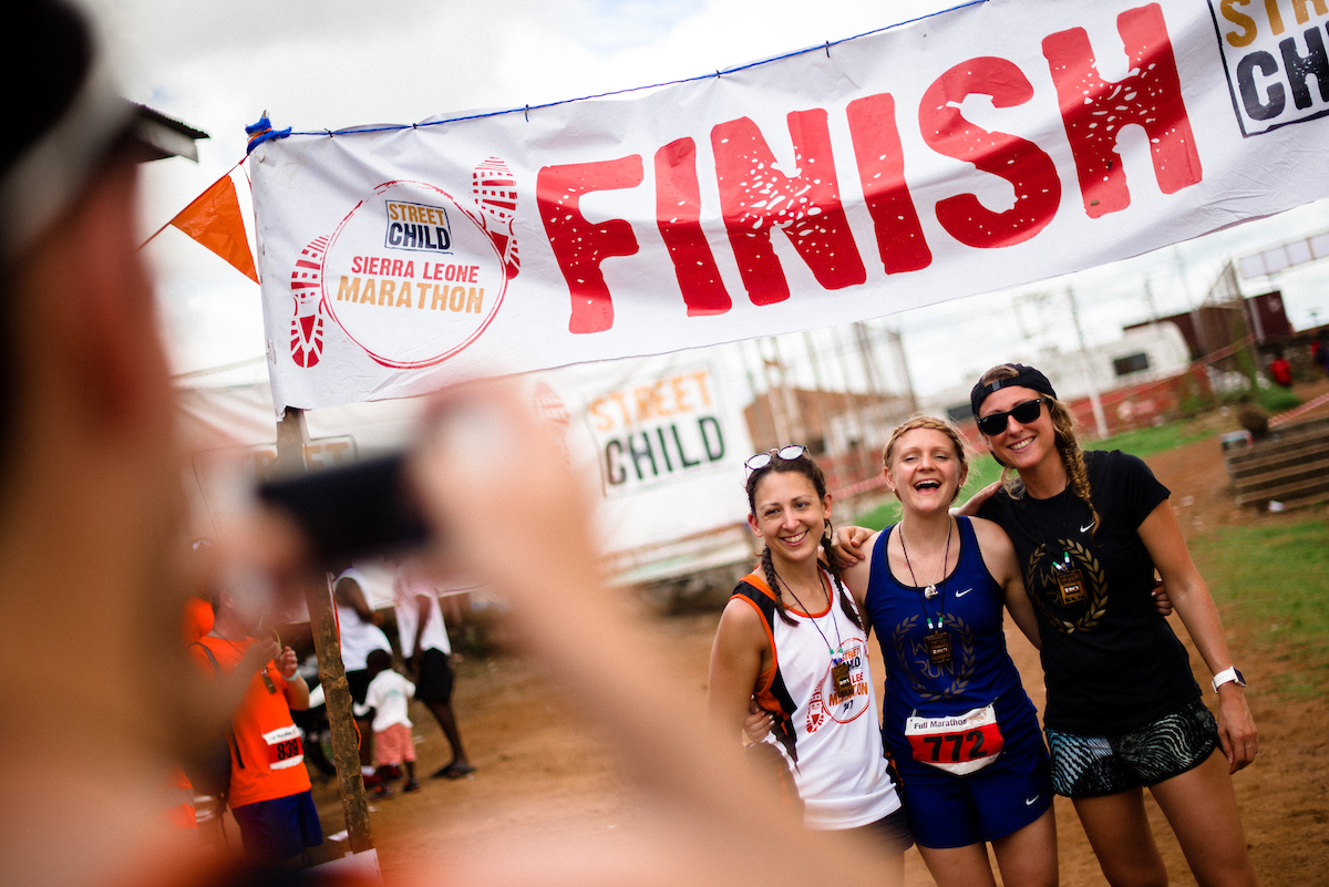Sharing in the relief at the finish line