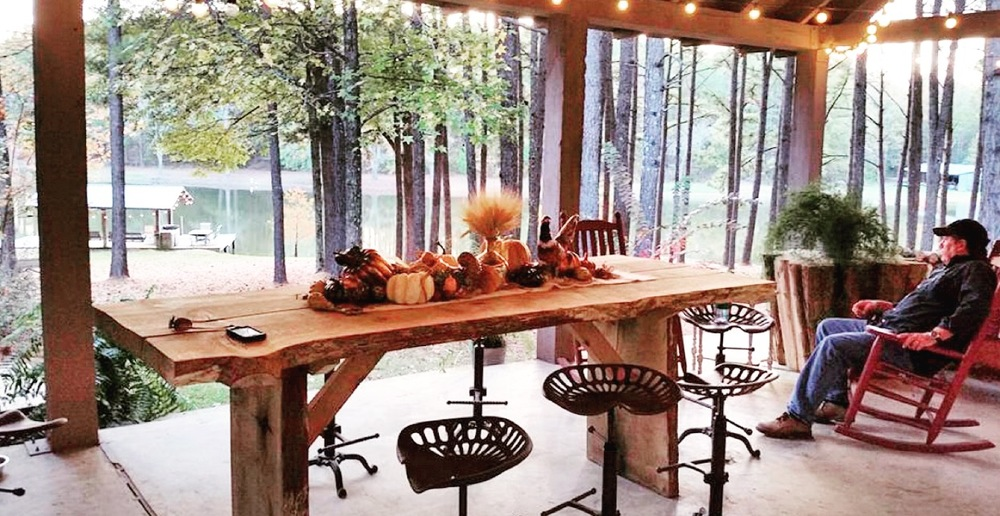 Outdoor covered porch and kitchen - the newest addition to the cabin.