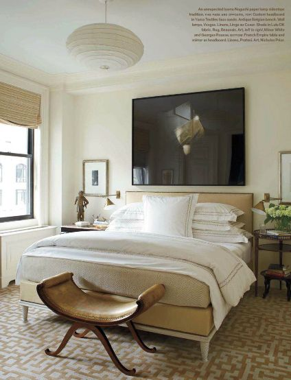 Brian McCarthy's personal bedroom, decorated beautifully in eye-catching neutrals with an ever present contrast.